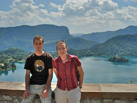 My friend and I, during a stop at Lake Bled, in Slovenia.