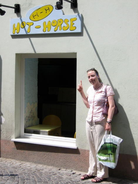 Me in Slovenia, right before eating horse meat.